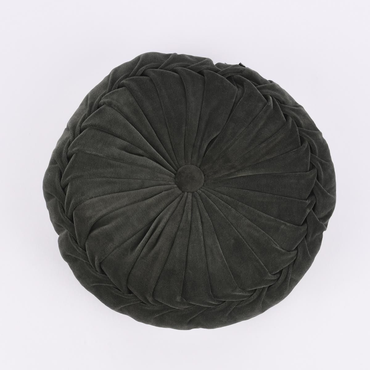 Kissen Samtkissen rund dunkles waldgrün 40x12cm