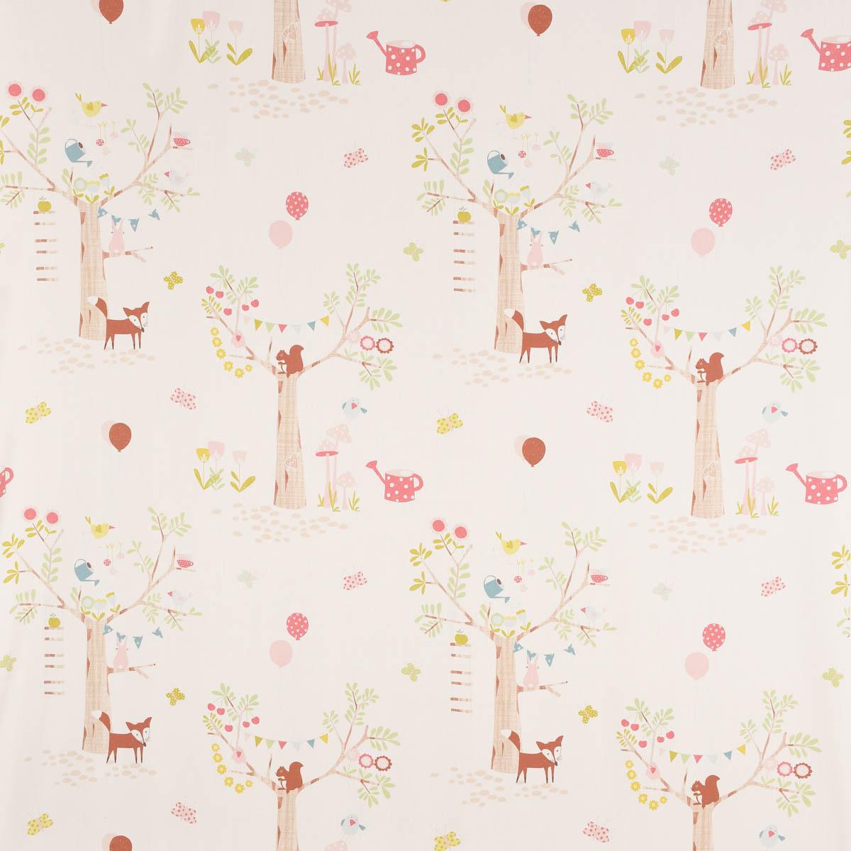 Baumwollstoff Dekostoff Bettwäschestoff Forest Bäume Blumen Tiere weiß bunt 1,40m Breite