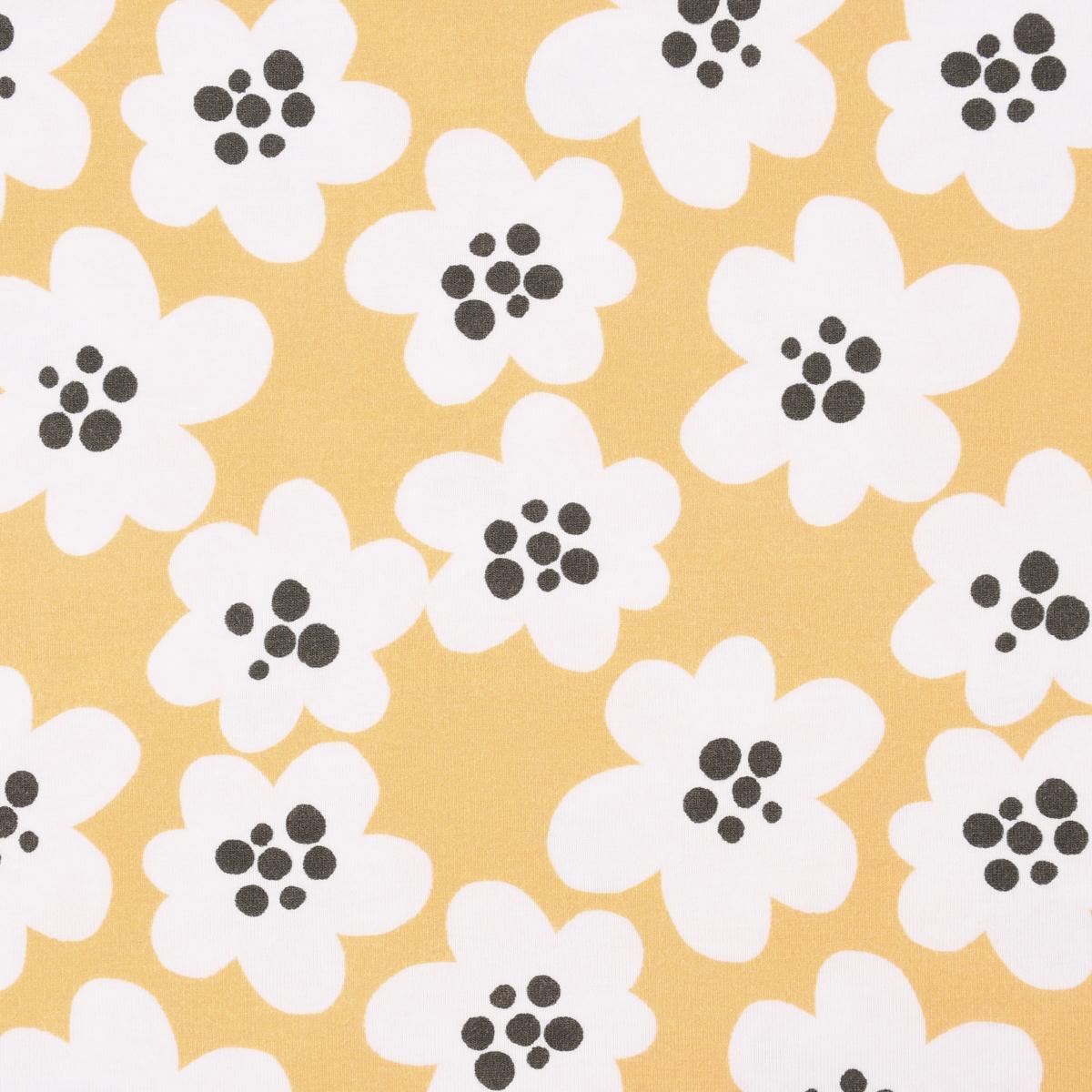 Lillestoff Bio Jersey Streublumen BIG Blumen gelb weiß grau 1,5m Breite