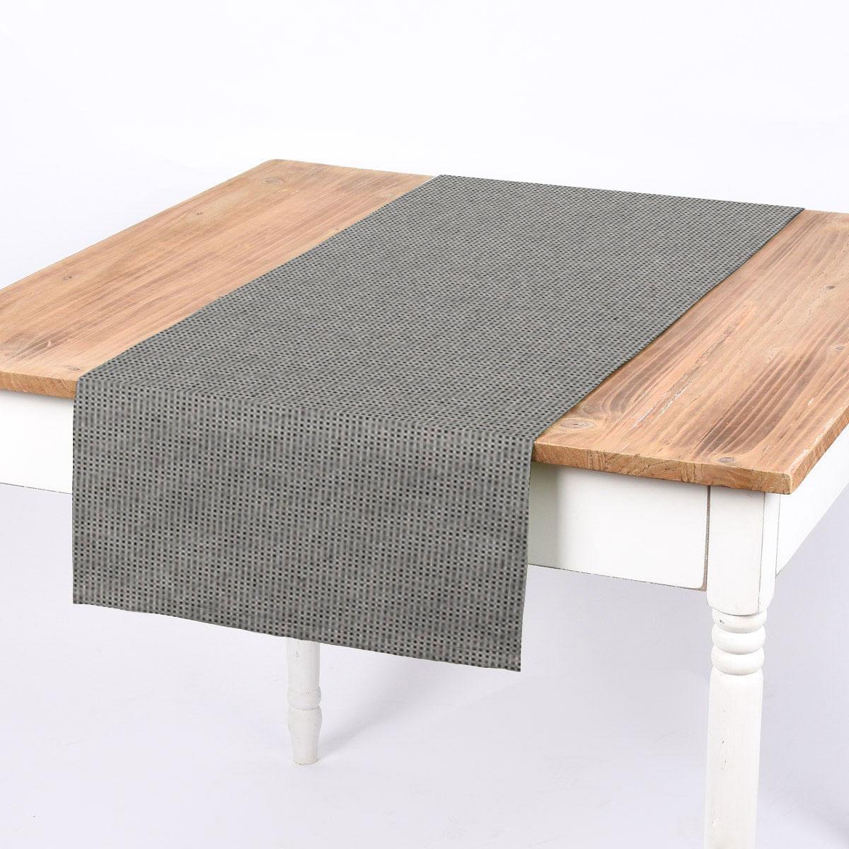 SCHÖNER LEBEN. Tischläufer Square Würfelstruktur uni schwarz grau 40x160cm