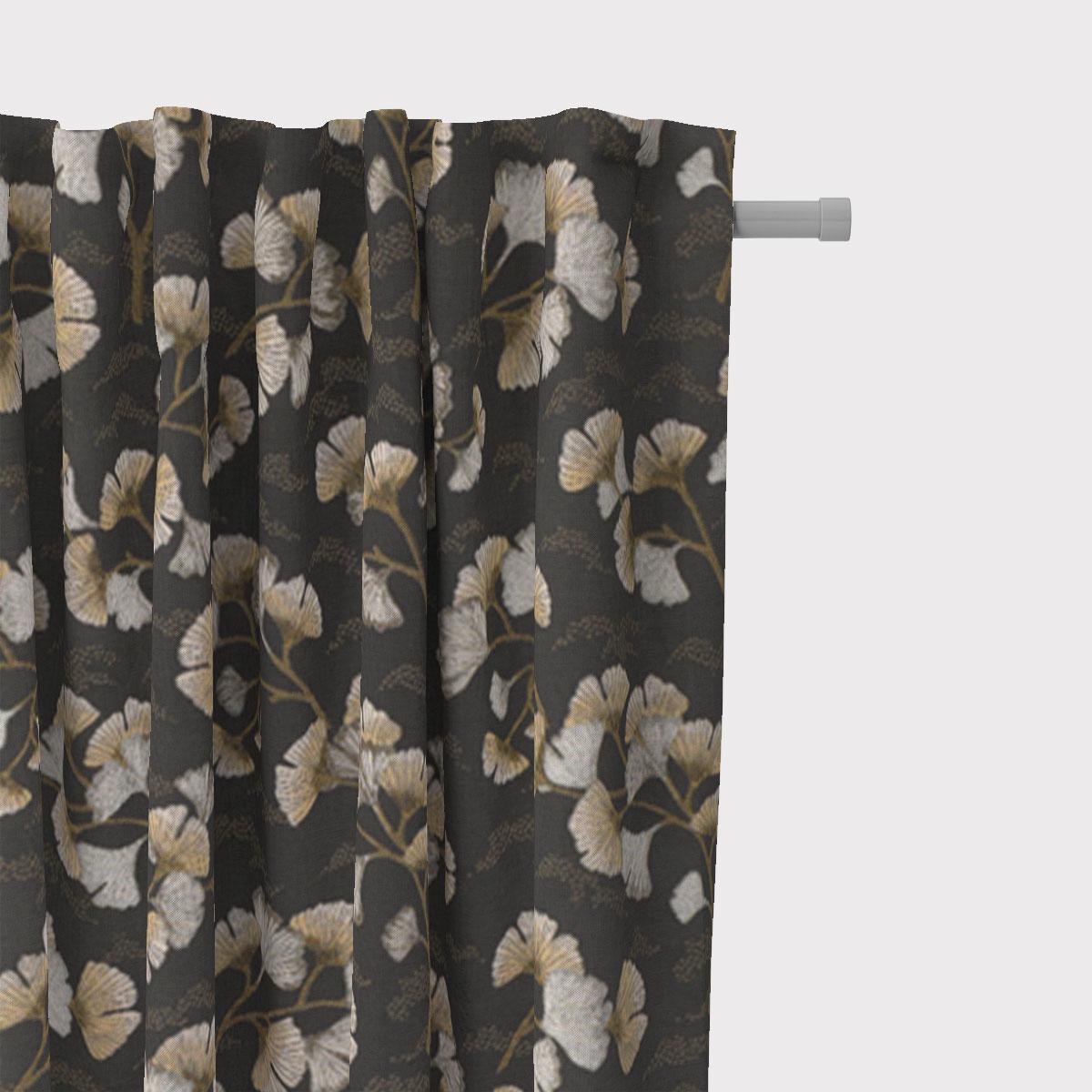SCHÖNER LEBEN. Vorhang Jacquard Ginkgo Allover Ginkgo-Blätter graphit beige gelb 245cm oder Wunschlänge