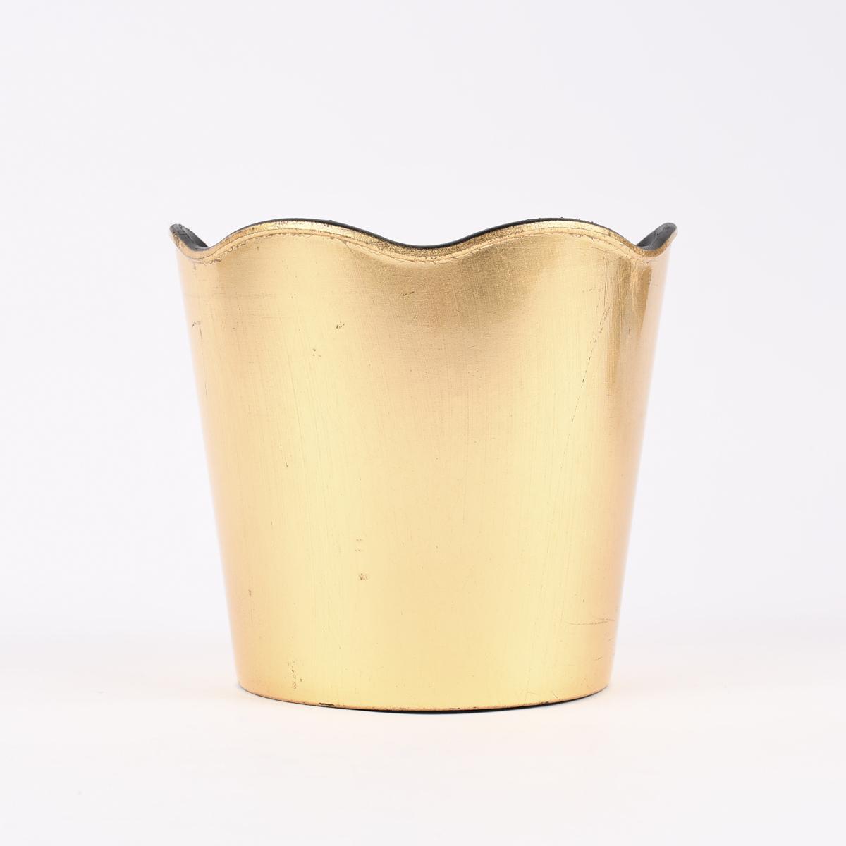 Übertopf mit gewelltem Rand Kunststoff goldfarbig 12x11cm