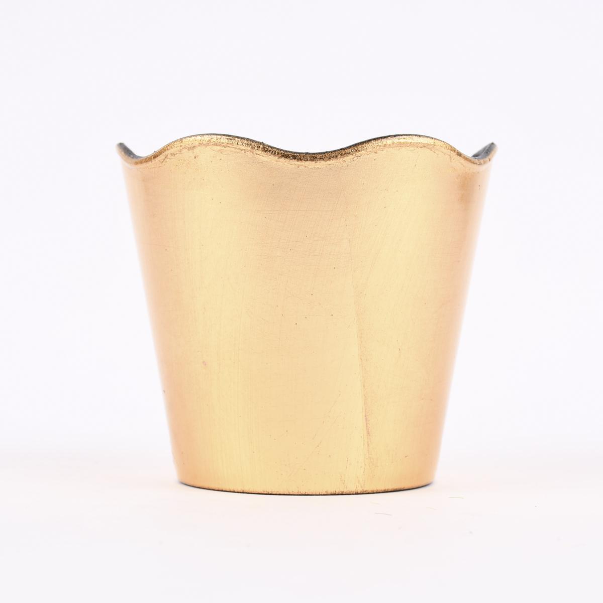 Übertopf mit gewelltem Rand Kunststoff goldfarbig 14x13cm