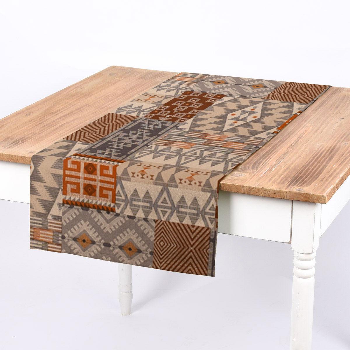 SCHÖNER LEBEN. Tischläufer Leinenlook Ethnic Chic Ethno Patchwork natur grau braun 40x160cm