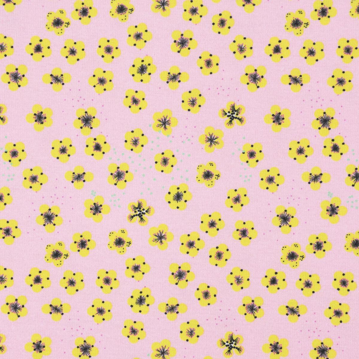 Lillestoff Bio Jersey Butterblumy Blumen Tupfen rosa gelb 1,5m Breite