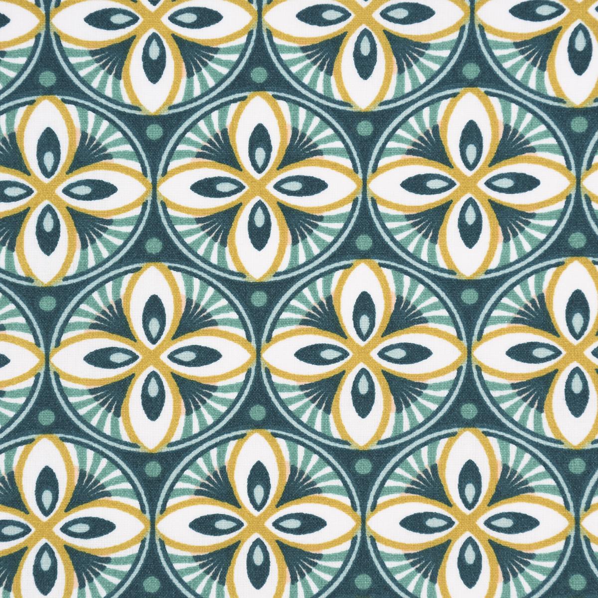 Tischdeckenstoff beschichtete Baumwolle LIVY Mandala grün weiß senf 1,5m Breite