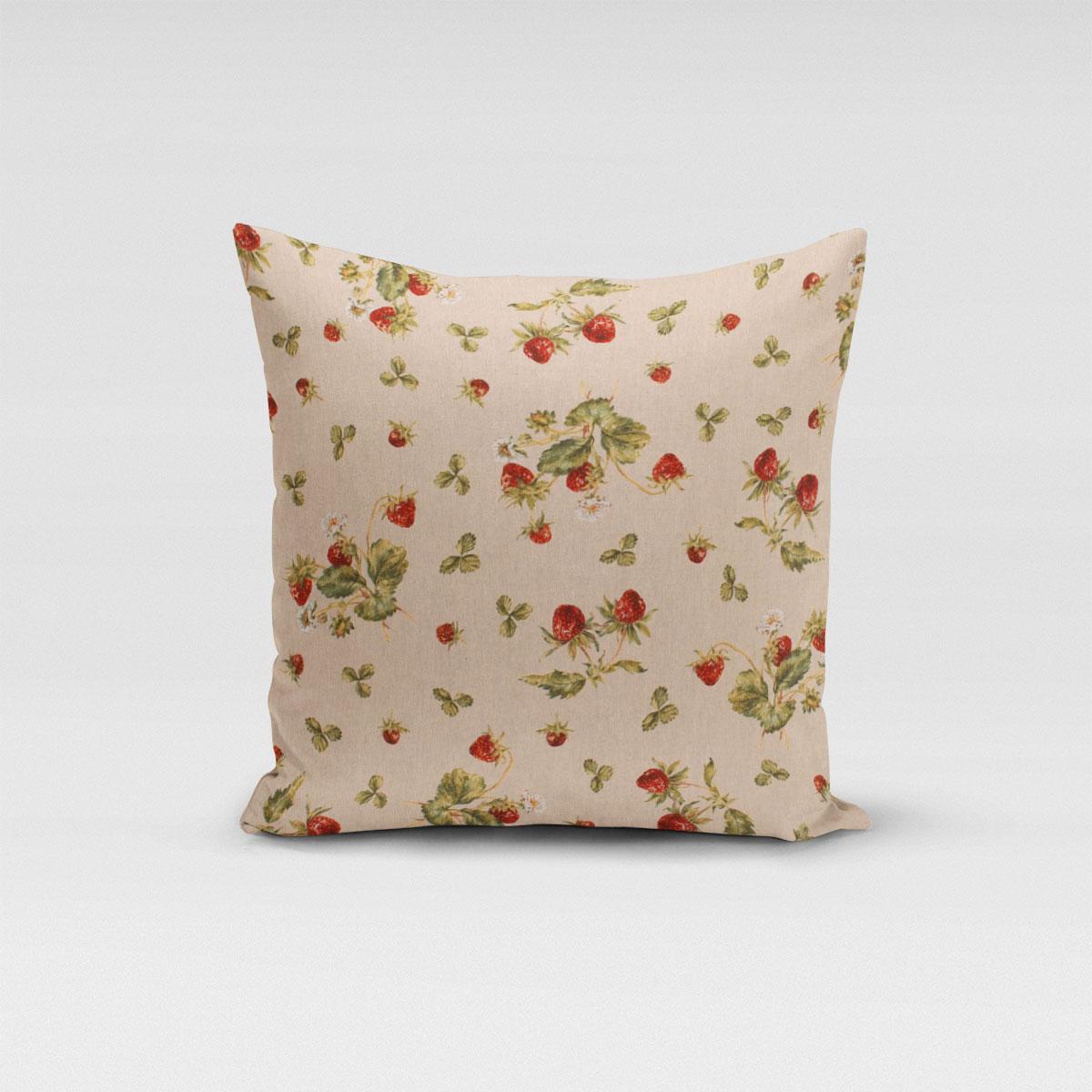 SCHÖNER LEBEN. Kissenhülle Leinenlook Strawberrys Growing Erdbeeren natur rot grün verschiedene Größen