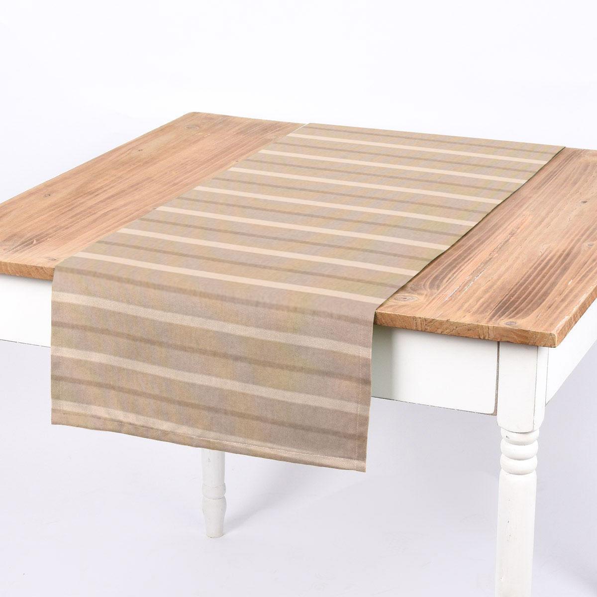 SCHÖNER LEBEN. Tischläufer Leinenlook Riviera Stripe Small Streifen natur creme 40x160cm