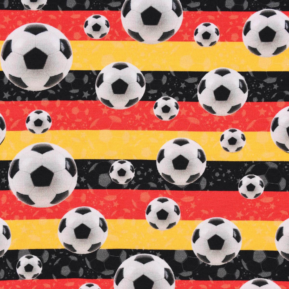 Baumwolljersey Digitaldruck Fußball Streifen schwarz rot gelb 1,45m Breite