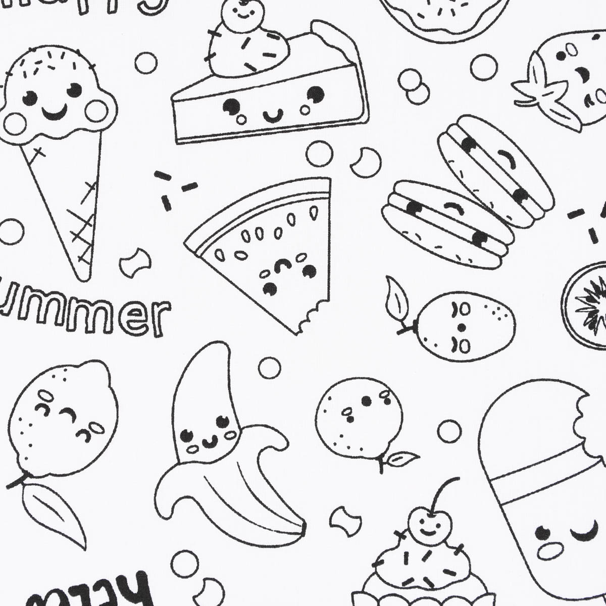 Baumwollstoff Ausmalstoff MIAM Muffin Obst Eis weiß schwarz 1,5m Breite
