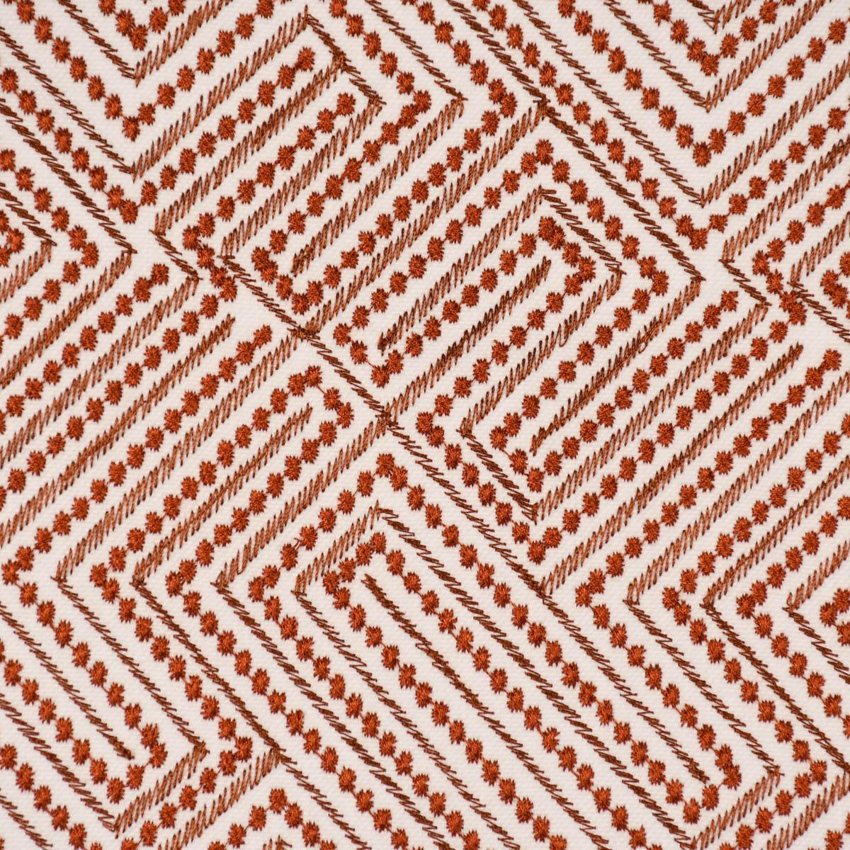 Rasch Textil Dekostoff Gardinenstoff Stickerei Grafik Arusha weiß rost 1,4m Breite
