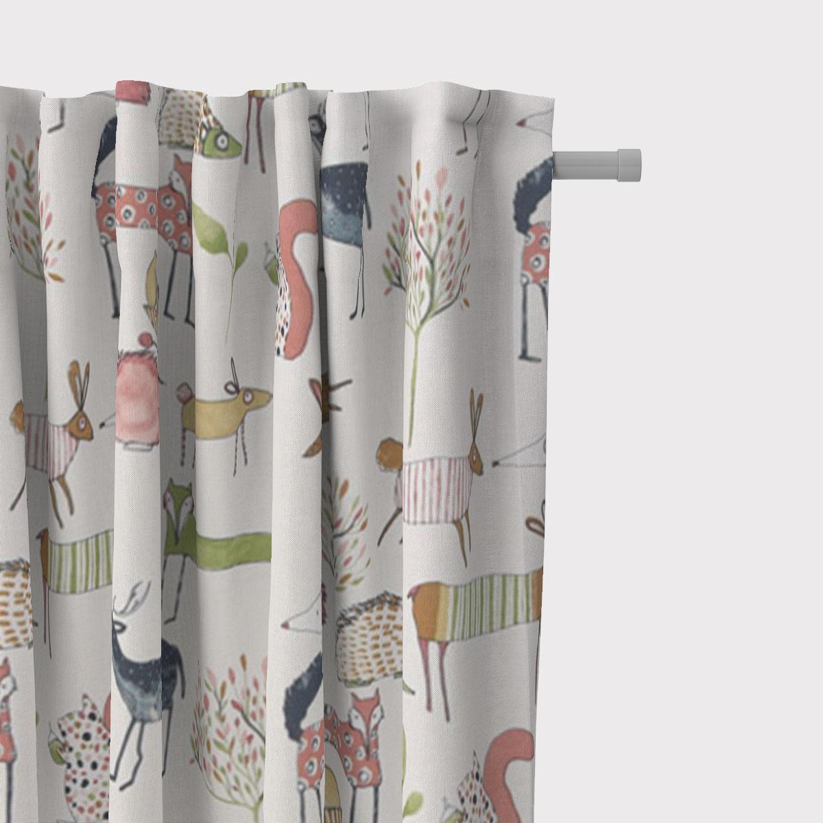 SCHÖNER LEBEN. Vorhang Oh My Deer Waldtiere wollweiß grün beere bunt 245cm oder Wunschlänge