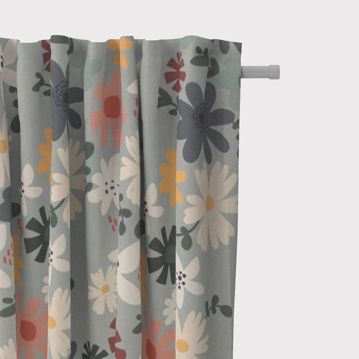 SCHÖNER LEBEN. Vorhang Blumen Blüten mint bunt 245cm oder Wunschlänge