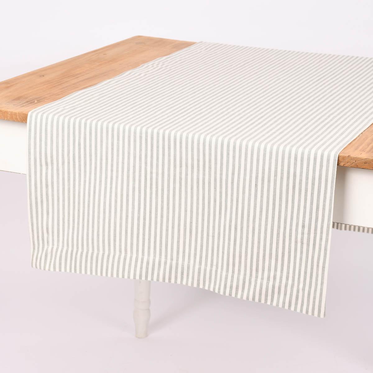 Linen & More Tischläufer Streifen grau weiß 50x140cm
