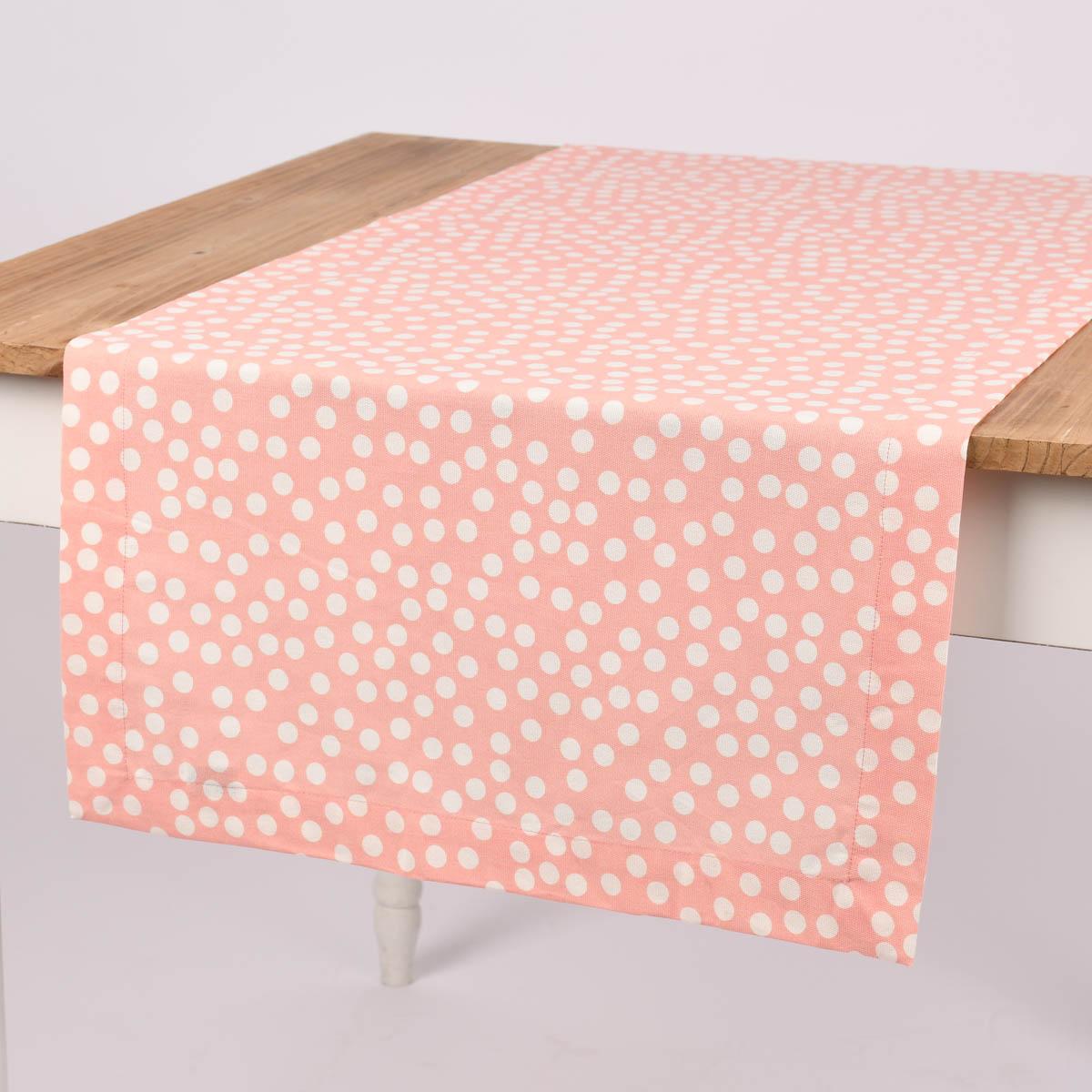 Linen & More Tischläufer Punkte rosa weiß 50x140cm