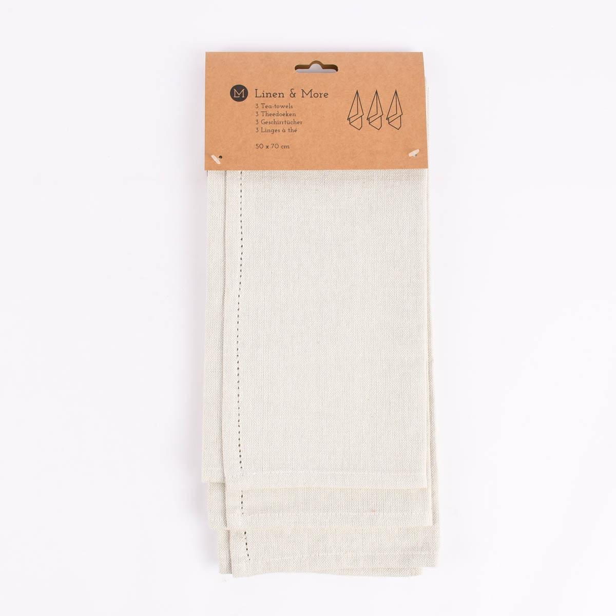 Linen & More 3er Set Geschirrtücher Indi einfarbig ivory 50x70cm