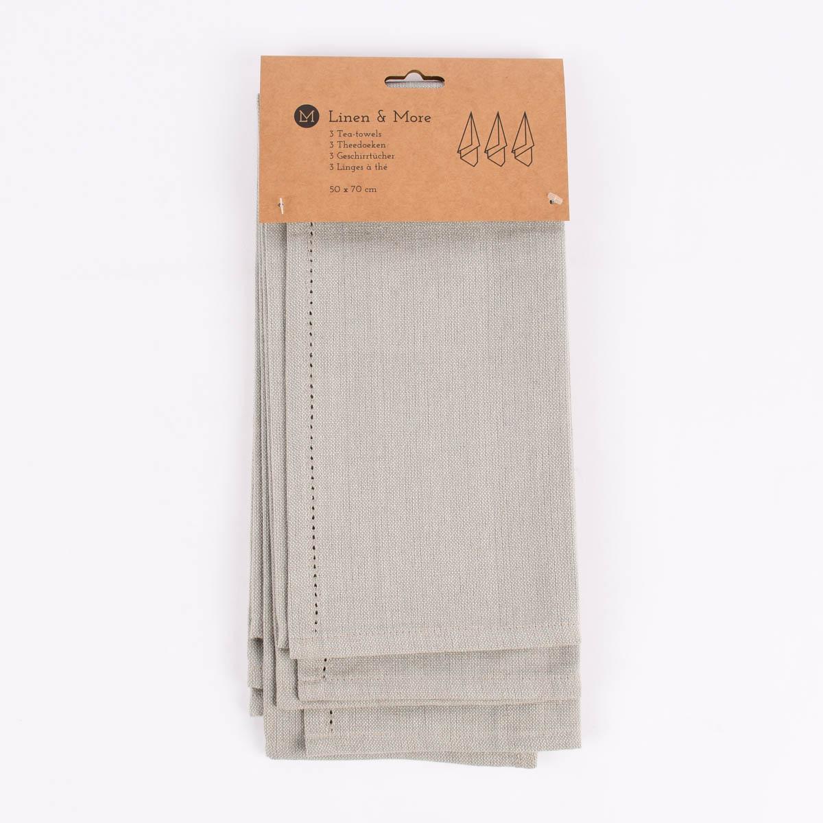 Linen & More 3er Set Geschirrtücher Indi einfarbig natur 50x70cm