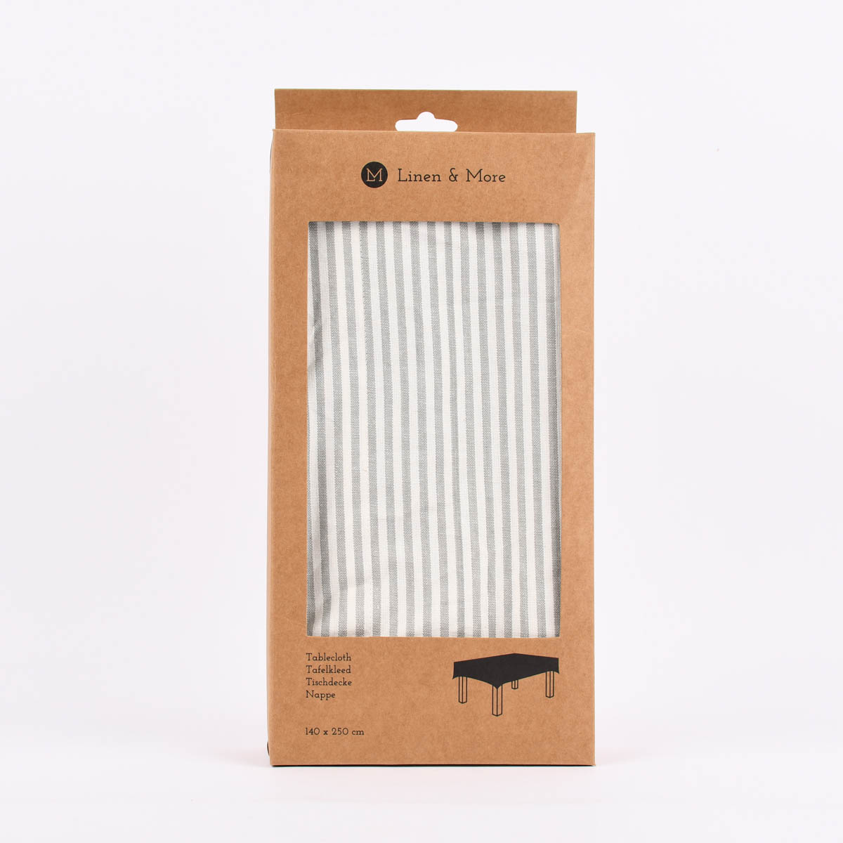 Linen & More Tischdecke Streifen grau weiß 140x250cm