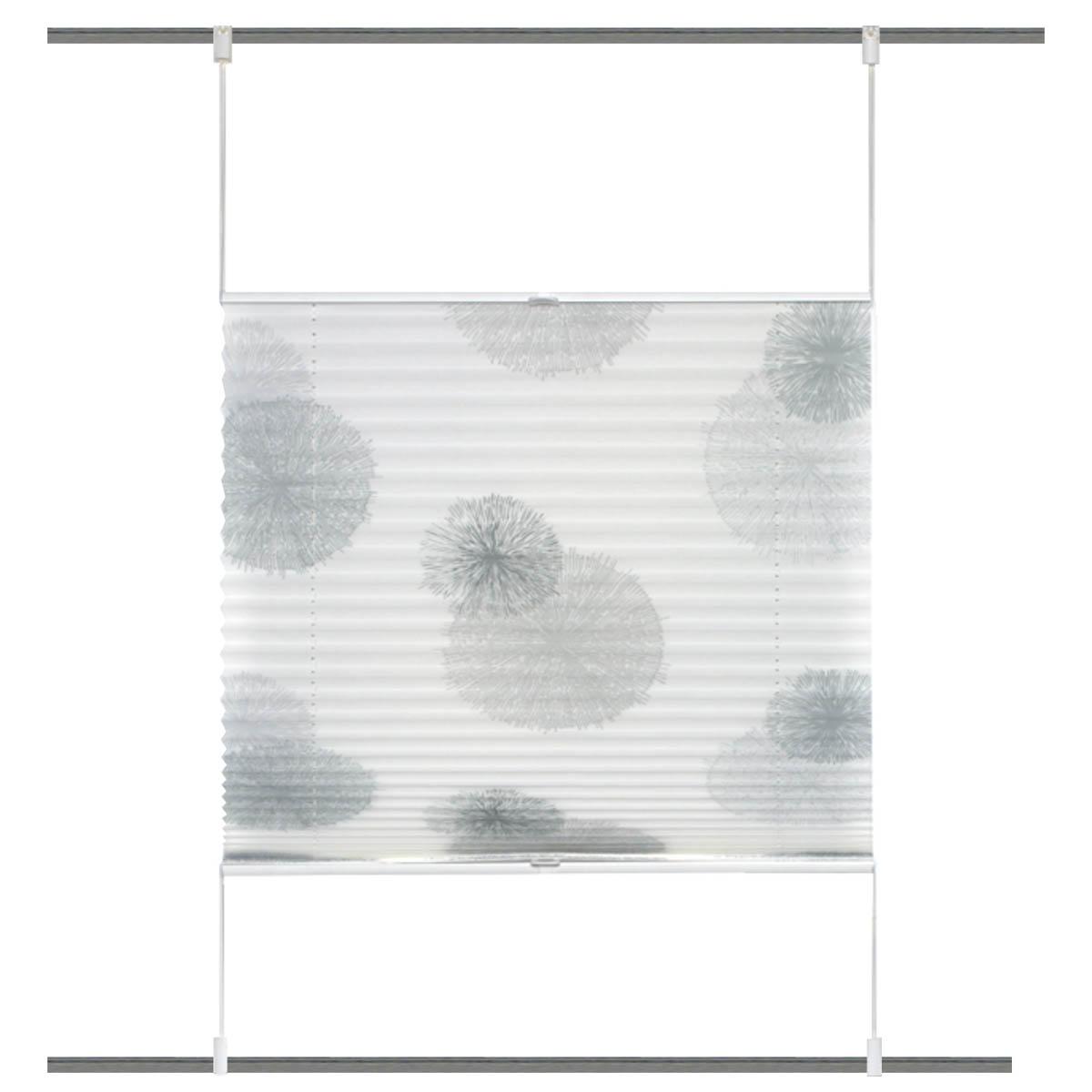 Plisseerollo Rawlins digital bedruckt mit Up & Down Technik weiß grau 50x130cm