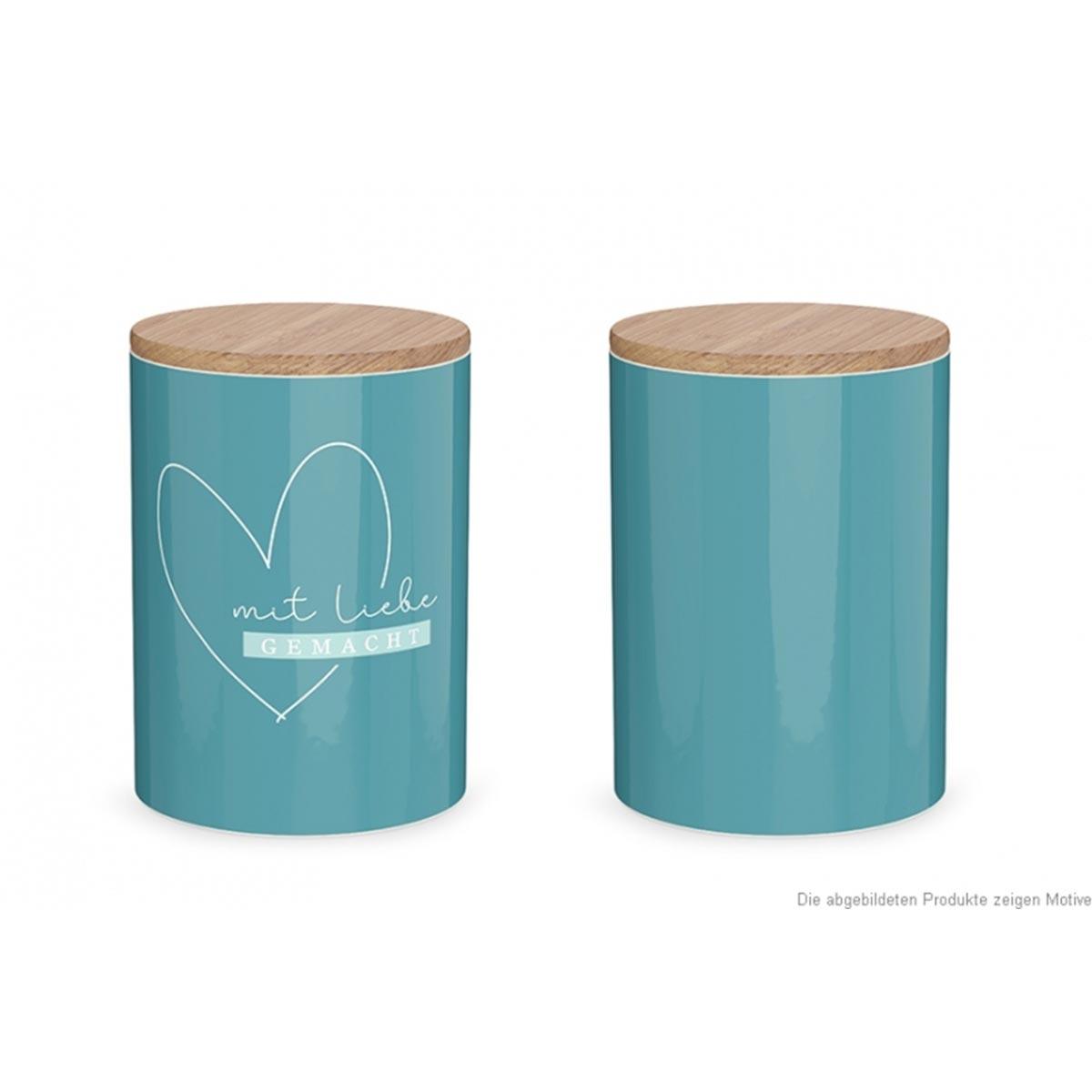 La Vida Vorratsdose Herz Mit Liebe gemacht Porzellan mit Bambusdeckel türkis natur 11x16cm