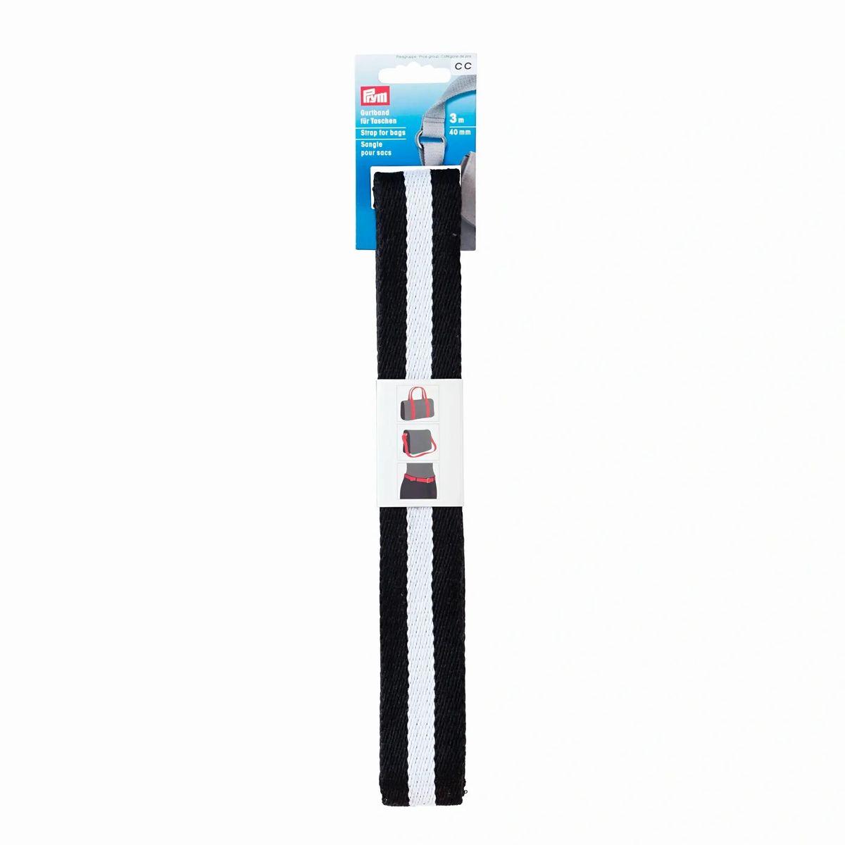 Prym Gurtband für Taschen 30mm schwarz weiß gestreift