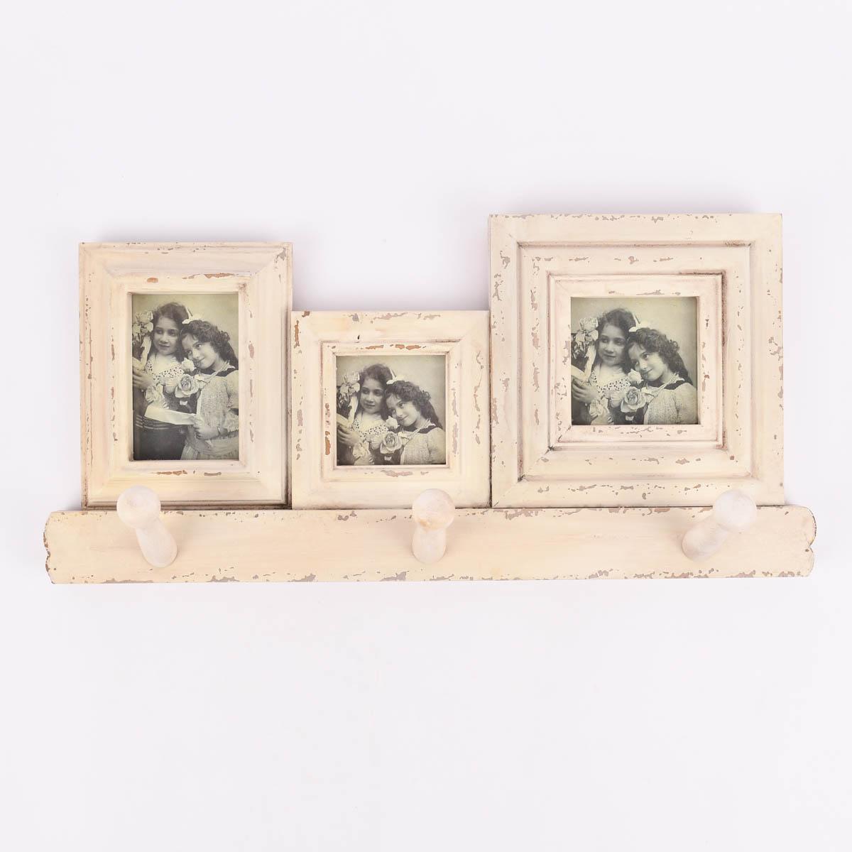 3fach Bilderrahmen mit Hakenleiste Holz Vintage weiß 52,5x25x2cm
