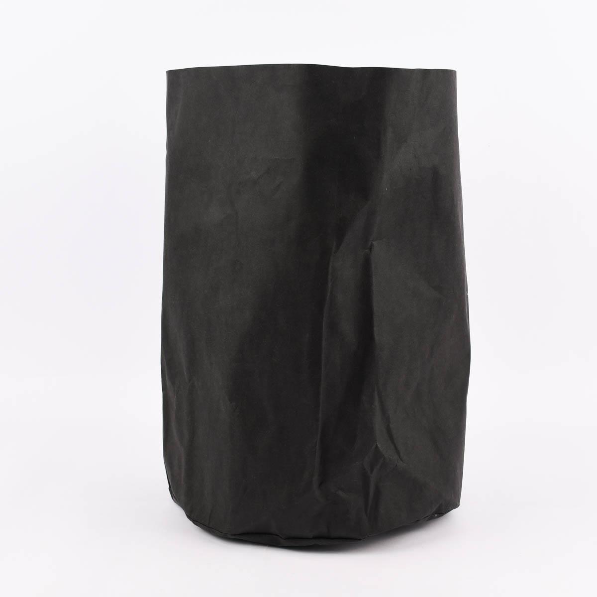 Aufbewahrungskorb rund Lederpapier schwarz 35x45cm