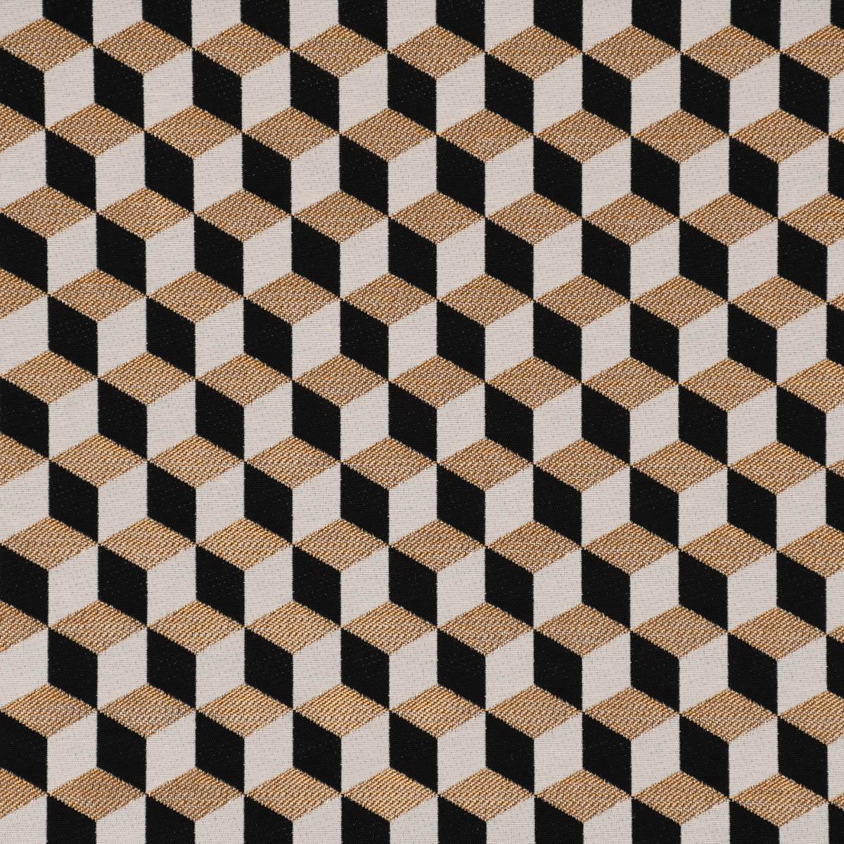 Dekostoff Jacquard Metallic Cube Geometric Luxury 3D Würfel schwarz gold ecru 1,4m Breite