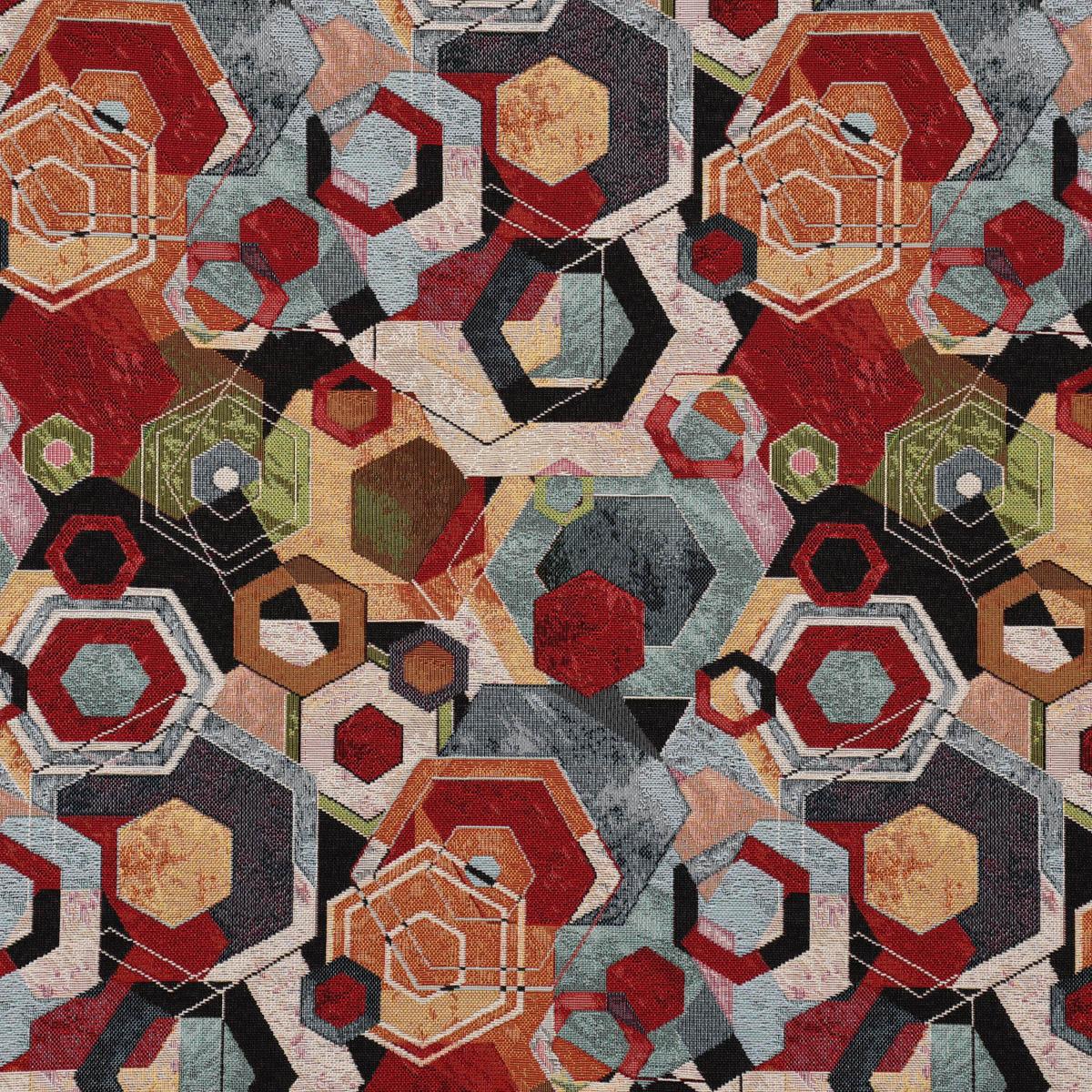 Dekostoff Gobelin Premium Geometric Colourful Art Hexagon bunt 1,4m Breite