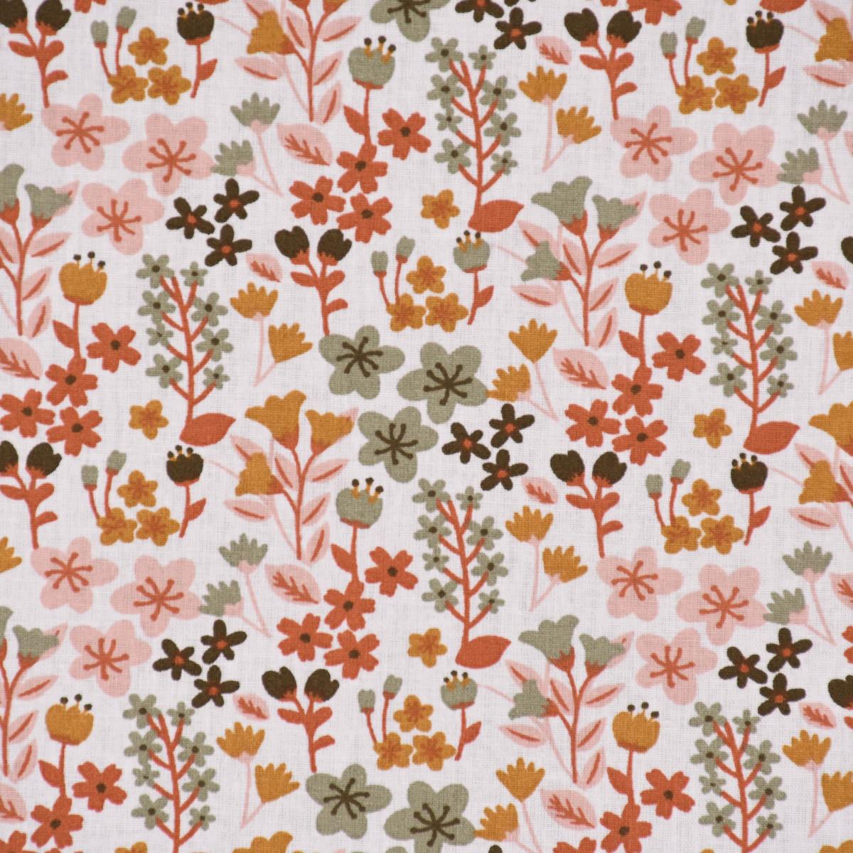 Baumwollstoff MILLY Blumen Sträucher weiß altgrün rosa ocker 1,5m Breite