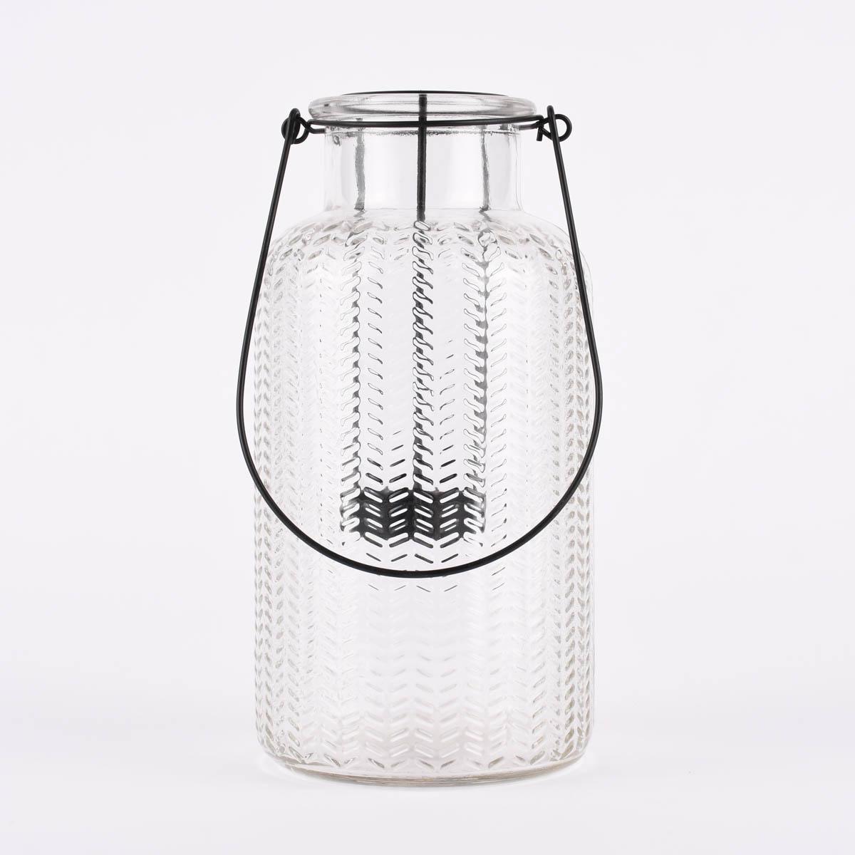 Windlicht mit Teelichteinfassung und Metallhenkel Glas klar 20x10cm