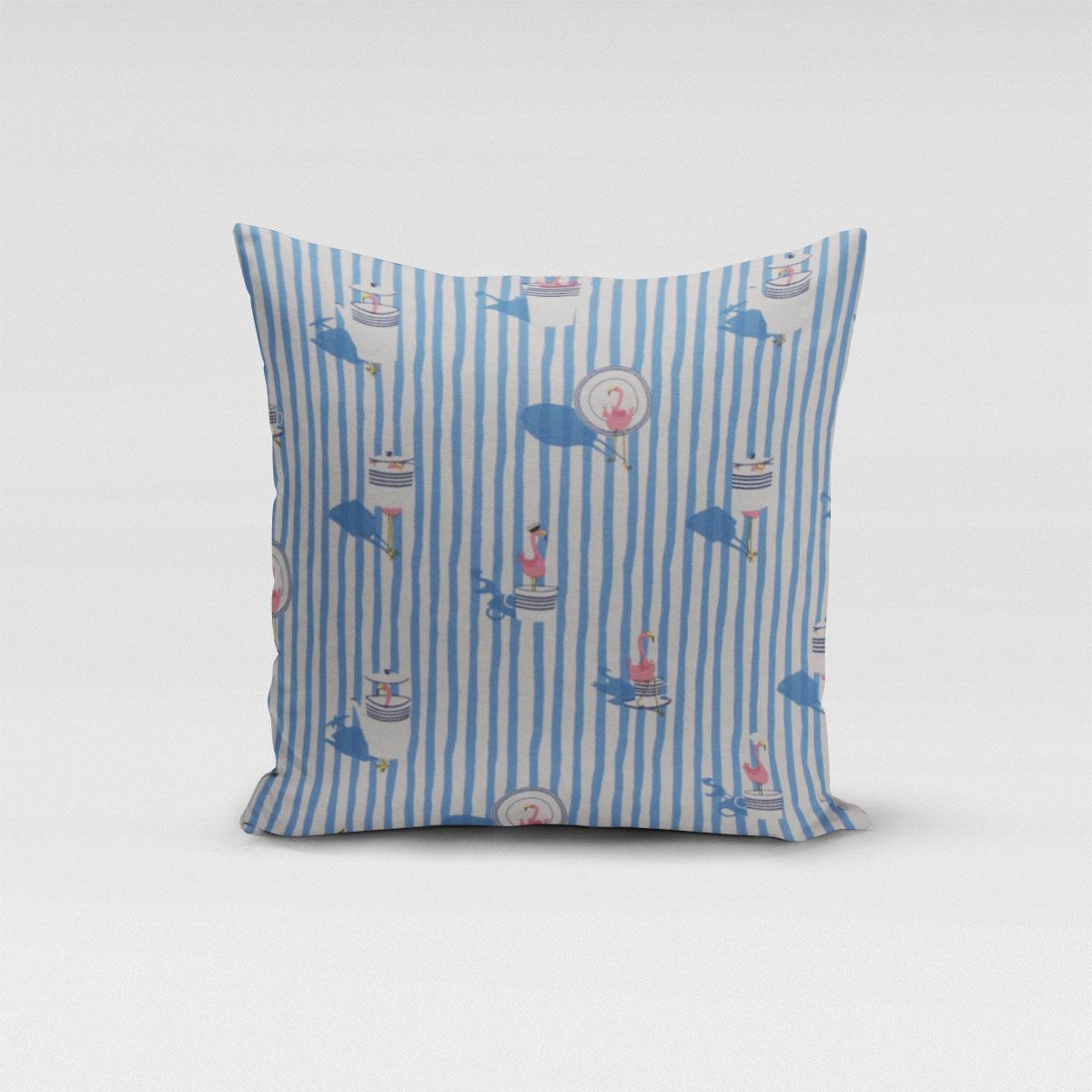 SCHÖNER LEBEN. Kissenhülle Flamingo Streifen maritim hellblau ecru verschiedene Größen