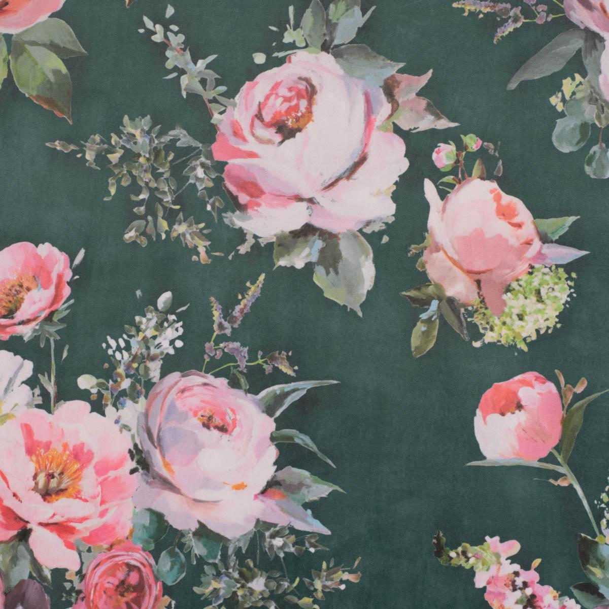 Samtstoff Polsterstoff Deko Velvet Deluxe Roses Delicate Painting Rosen grün rosa 1,40m