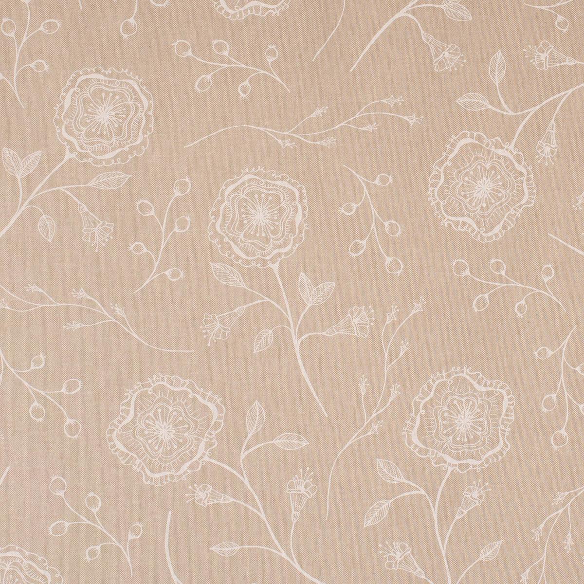 Dekostoff Halbpanama Leinenlook Flower Serene Blüten Zweige natur weiß 1,40m Breite