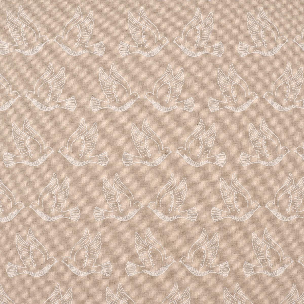 Dekostoff Halbpanama Leinenlook Peace Dove Iconic Taubenpaar natur weiß 1,40m Breite