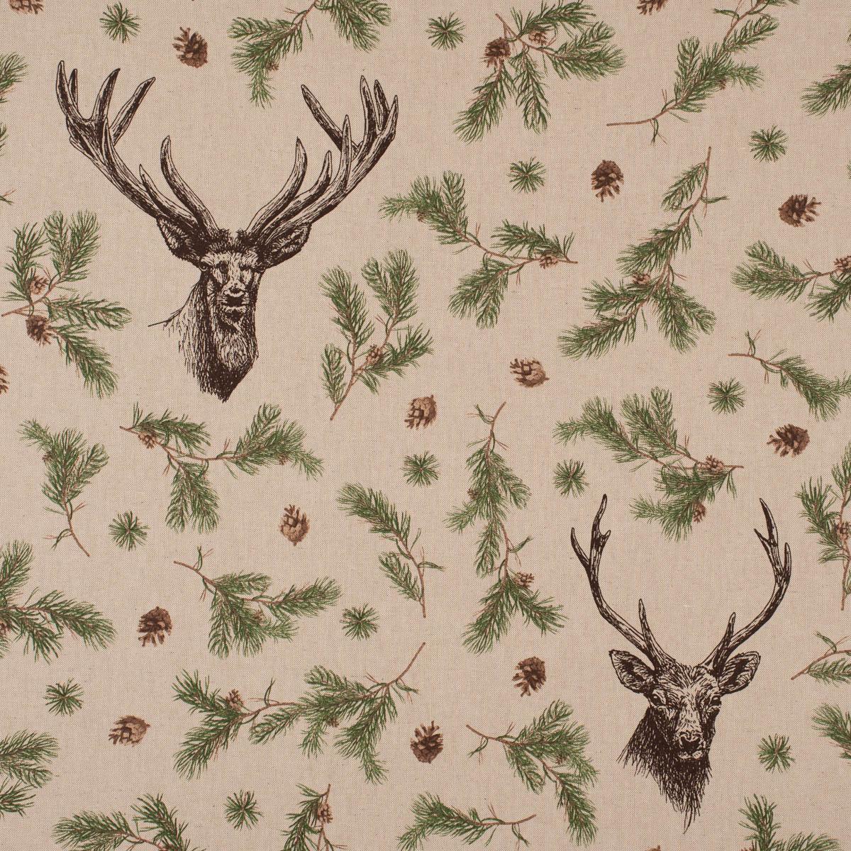 Dekostoff Halbpanama Leinenlook Deer Forest Hirsch Kiefernzweige natur grün 1,40m Breite