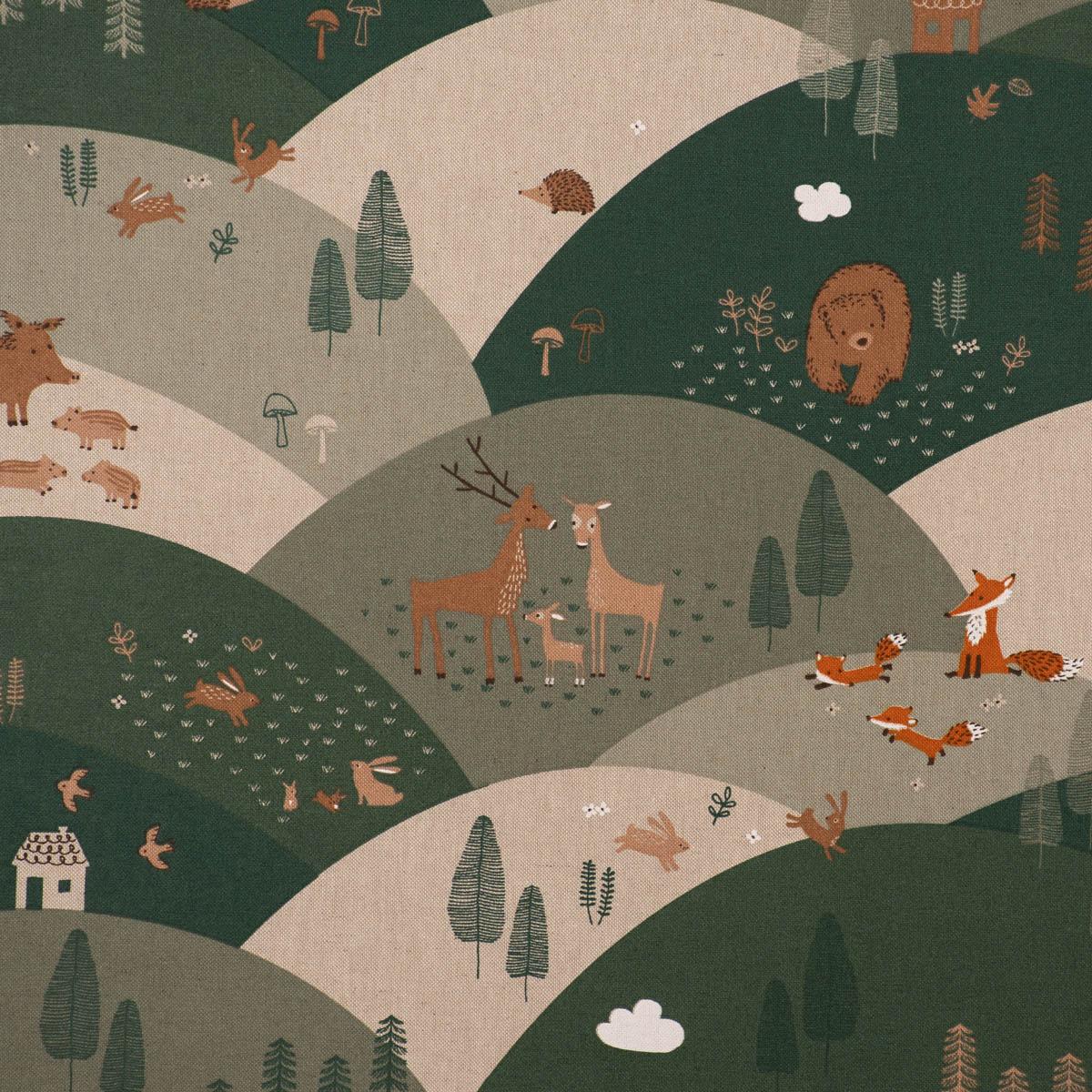 Dekostoff Halbpanama Leinenlook Mountain Forest Animals Tiere Hügel natur grün 1,40m Breite