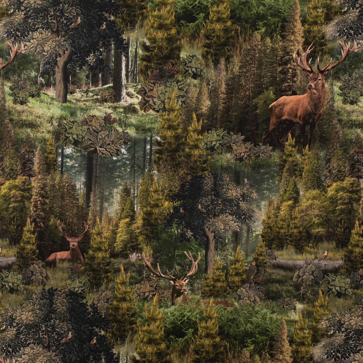 Dekostoff Halbpanama Digitaldruck Ancient Forest Wald Hirsche grün 1,40m Breite