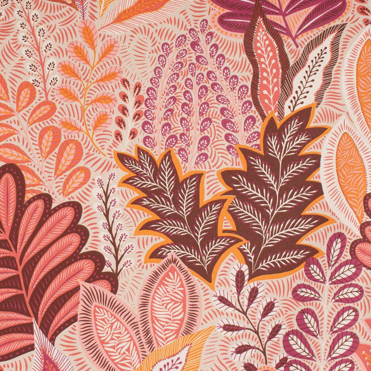Dekostoff Halbpanama Leinenlook Botanic Arty Blätter pink orange natur 1,40m Breite