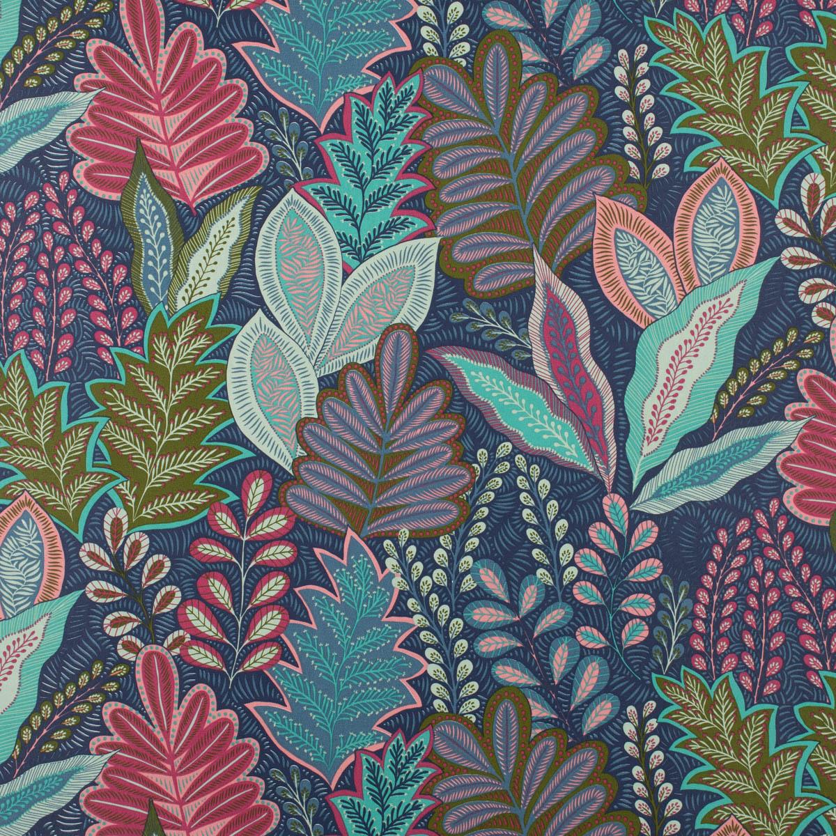 Dekostoff Halbpanama Leinenlook Botanic Arty Blätter blau pink grün 1,40m Breite