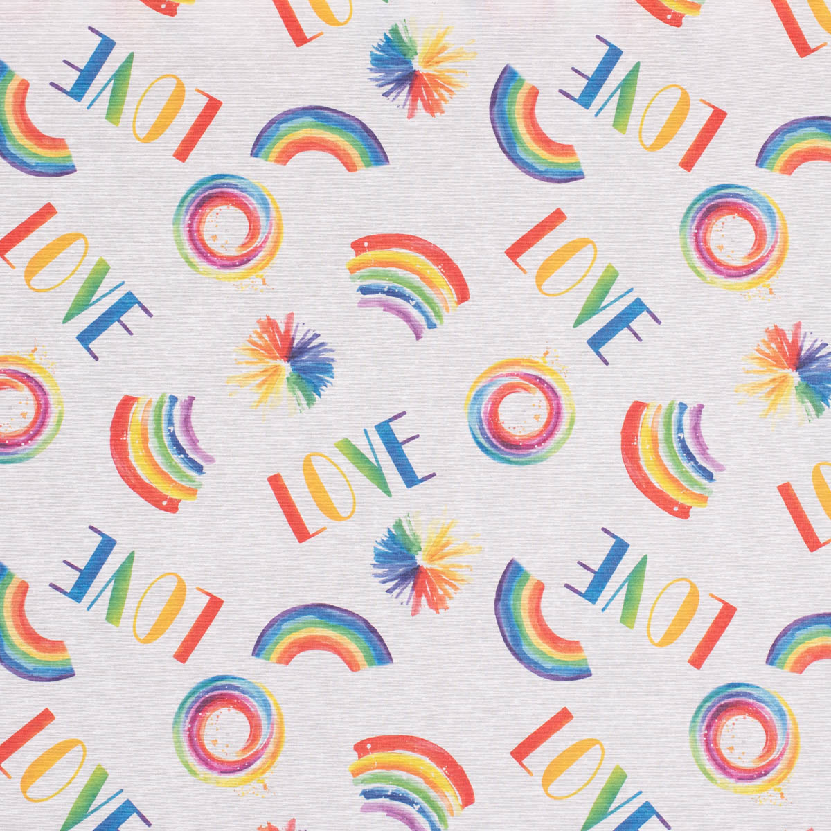 Dekostoff Ottoman Baumwoll-Mischgewebe Rotti Love Regenbogen bunt weiß 1,40m Breite
