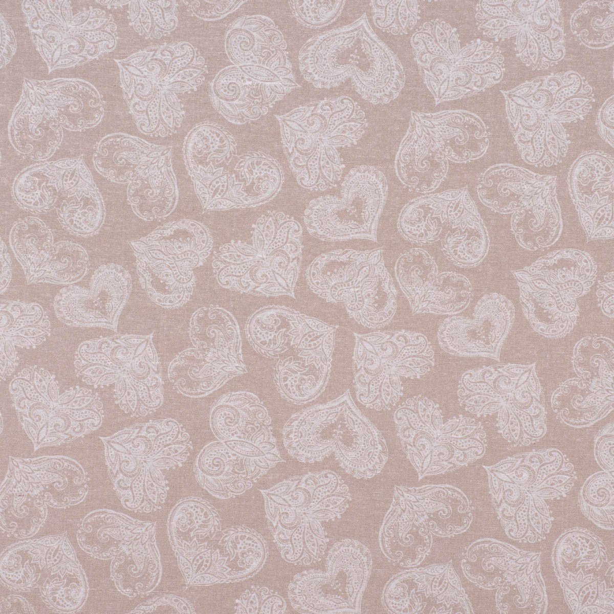 Dekostoff Ottoman Baumwoll-Mischgewebe Gorse Ornament-Herzen natur weiß 1,40m Breite