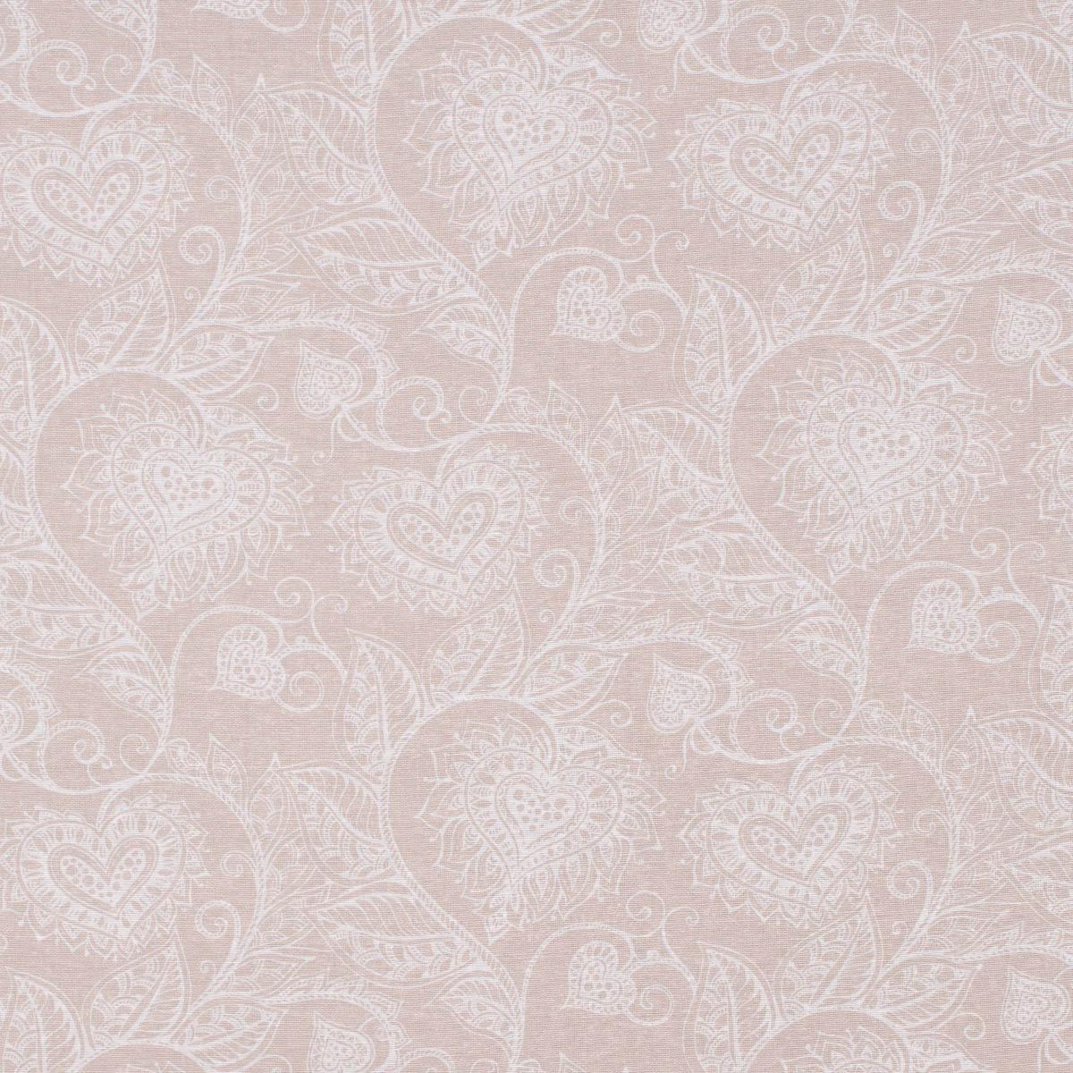 Dekostoff Ottoman Baumwoll-Mischgewebe Clematis Herzen Blätterranken natur weiß 1,40m Breite