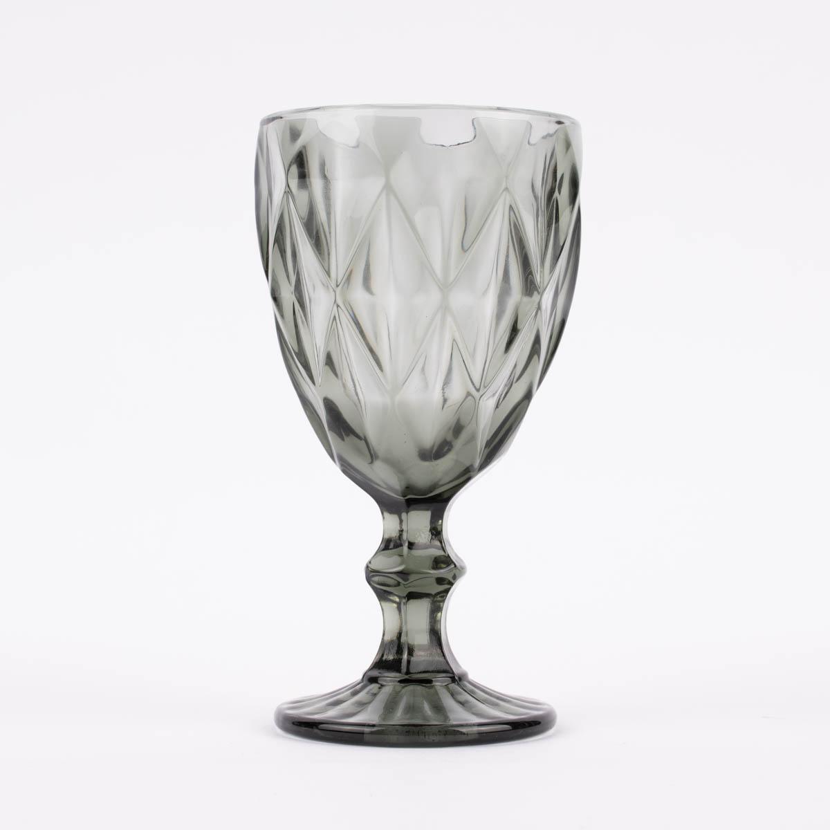 Weinglas Diamantmuster geprägt Glas anthrazit 17x9cm