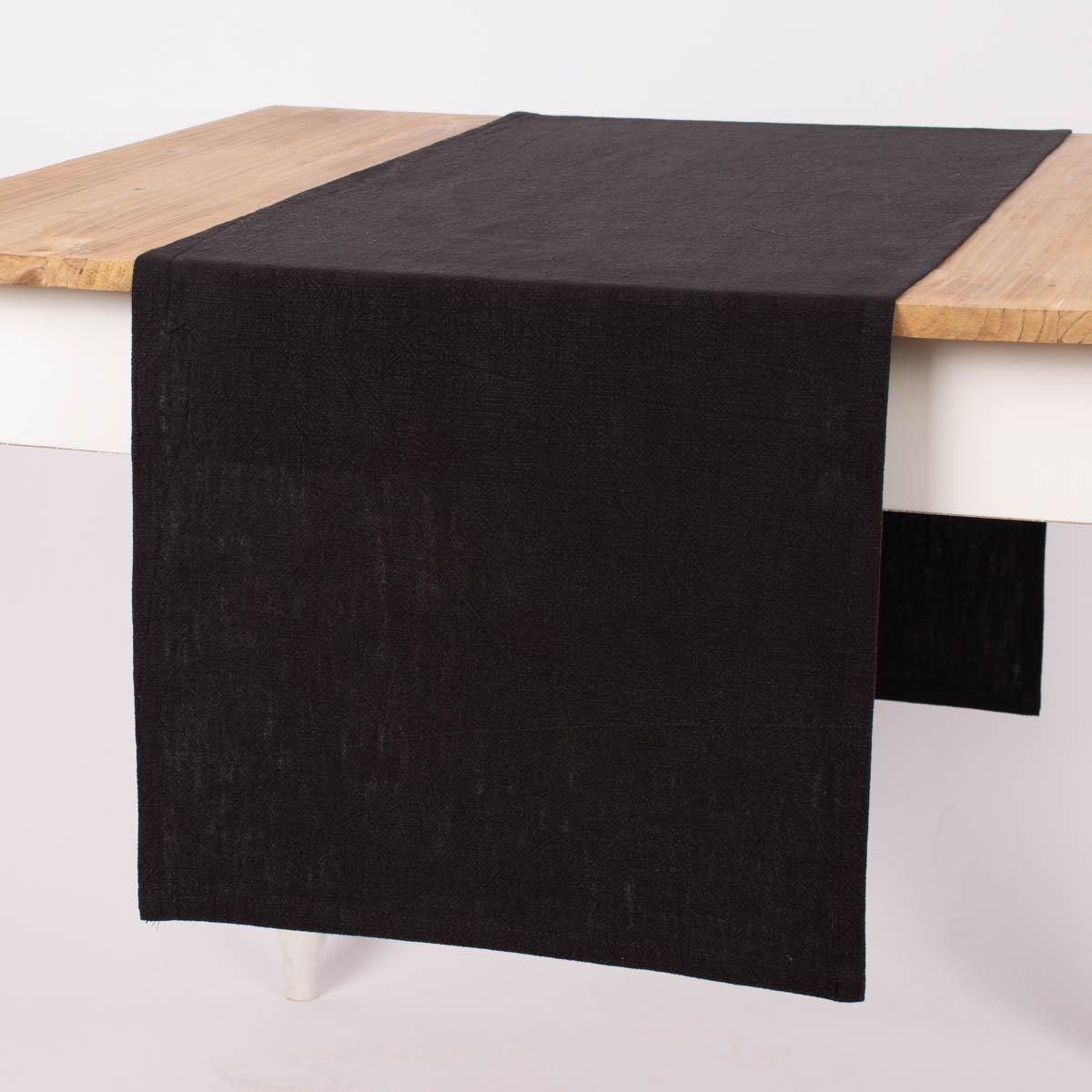 SCHÖNER LEBEN. Tischläufer Bio Ramie Leinenoptik schwarz 40x160cm