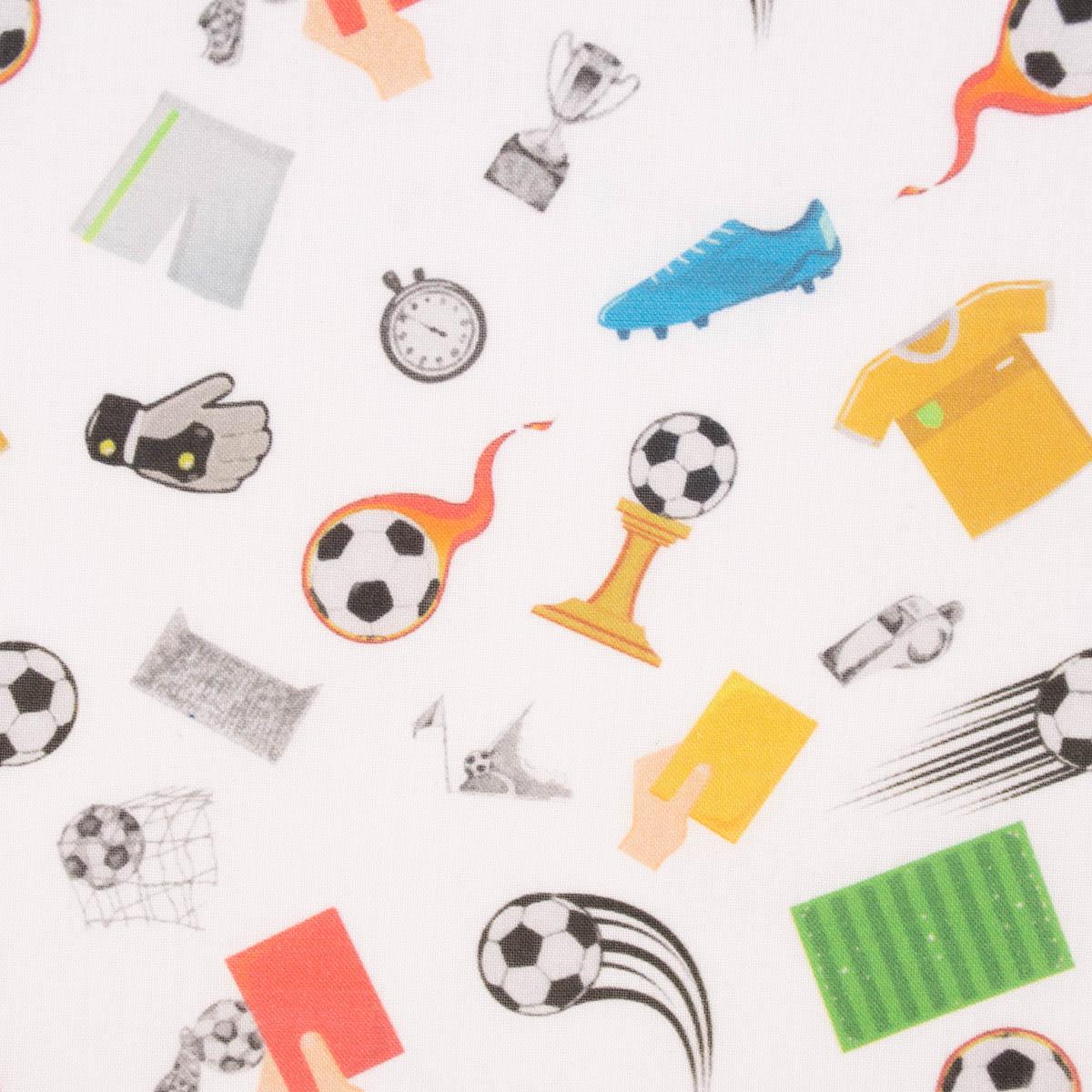Baumwollstoff GOTS Bio Soccer Fußballmotive weiß bunt 1,50m Breite