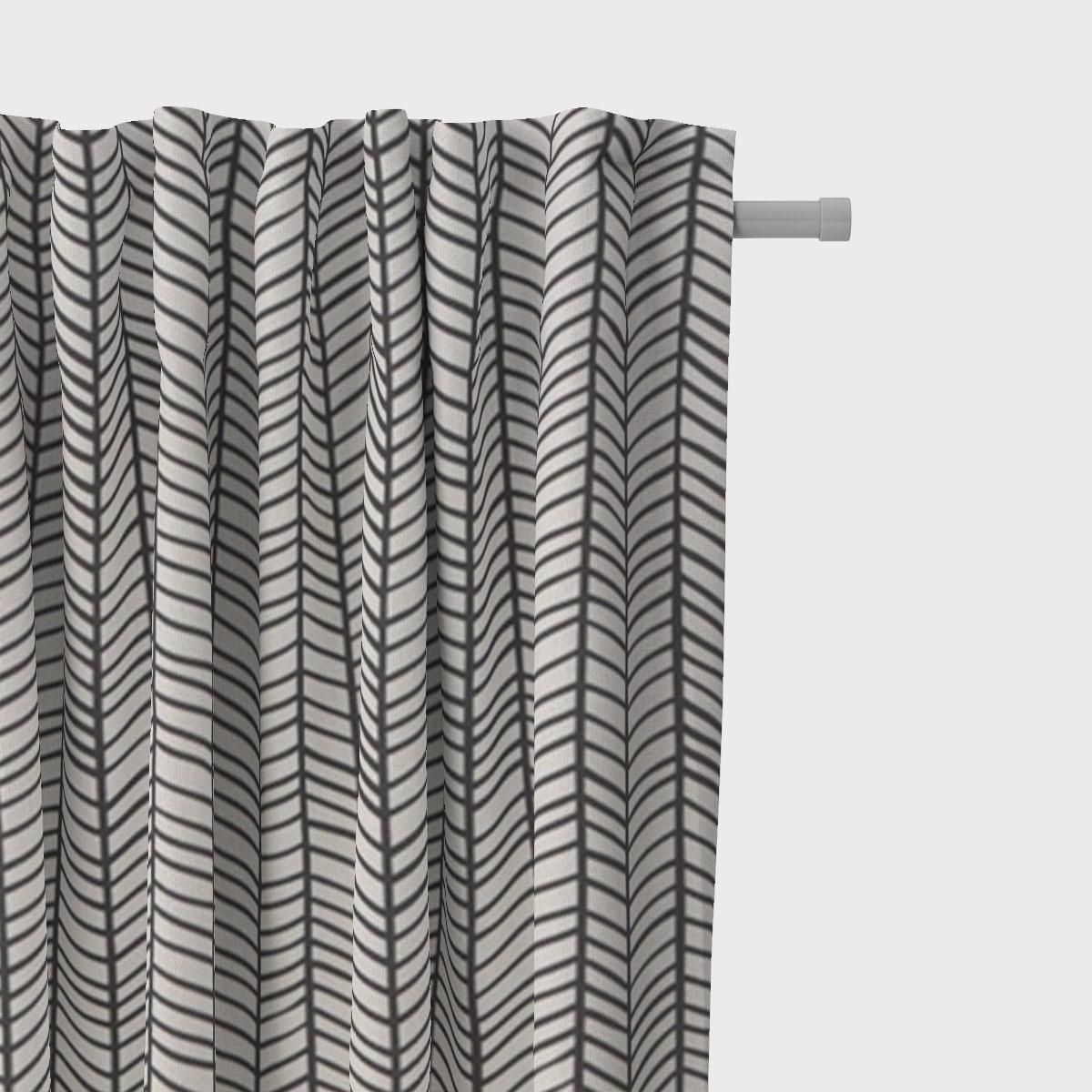 SCHÖNER LEBEN. Vorhang Fischgrätmuster abstrakt weiß schwarz 245cm oder Wunschlänge