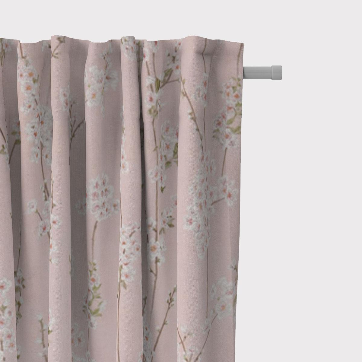 SCHÖNER LEBEN. Vorhang Almond Blossom Mandelblütenzweige rosa 245cm oder Wunschlänge