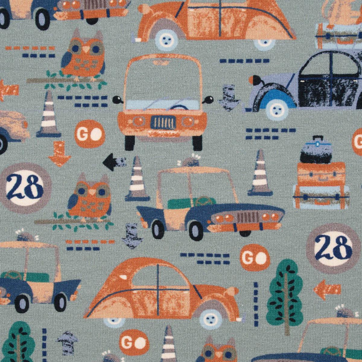 Baumwolljersey Jersey Digitaldruck Autos Eule Affe altgrün rost petrol 1,5m Breite