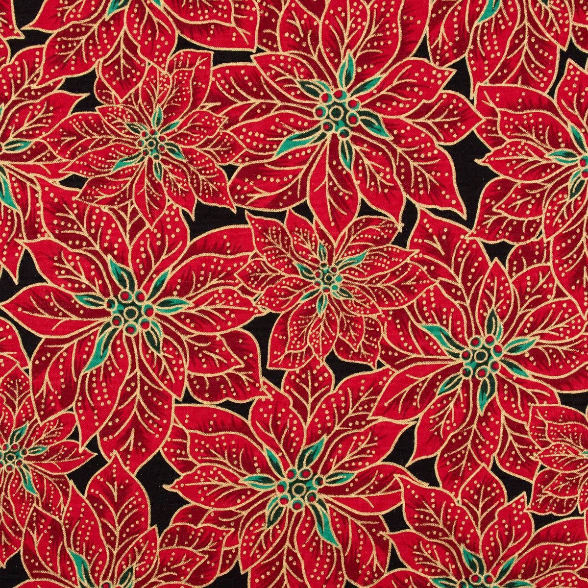 Baumwollstoff Weihnachten Blüten rot grün schwarz goldfarbig 1,35m Breite